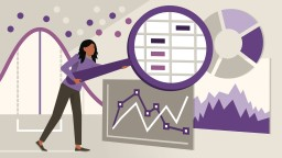 Statistic Foundations: The Basics. Graphic icon showing a woman working with a chart