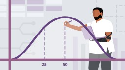Statistics Foundations: Probability. Graphic icon showing a man working with a graph curve